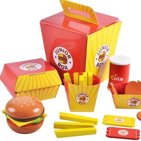 simulacao de madeira hamburger fries fast food mdeol conjunto criancas fingir jogar brinquedo criando empilhamento