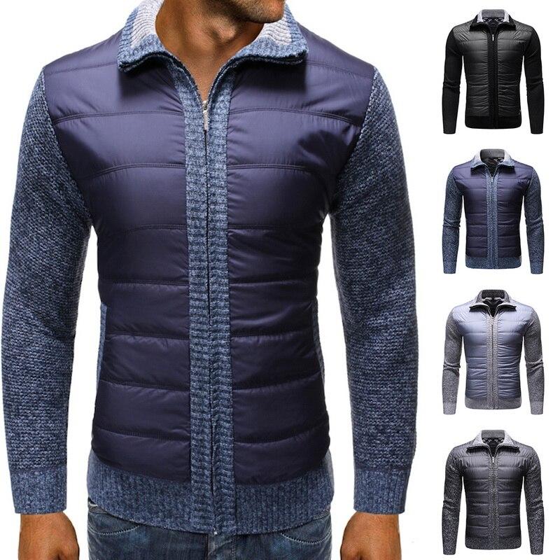 2019 Casual Patchwork Sweater Coat For Men Autumn Winter Slim Warm Outwear Zipper Turn Down Knitted Cardigan Casaco Masculino
