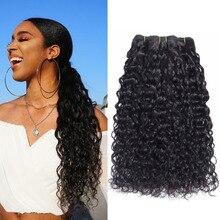 Water Wave wiązki naturalne czarne włosy wyplata rozszerzenia 100% wiązki ludzkich włosów 1/3/4 sztuk peruwiański Remy włosy falowane zestawy