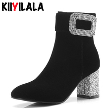 Kiiyilala Crystal Buckle Woman Boots Side Zipper Bling Hoof Heels Shoes Square Toe Winter Shoes Plus Size Ankle Boots For Women стоимость