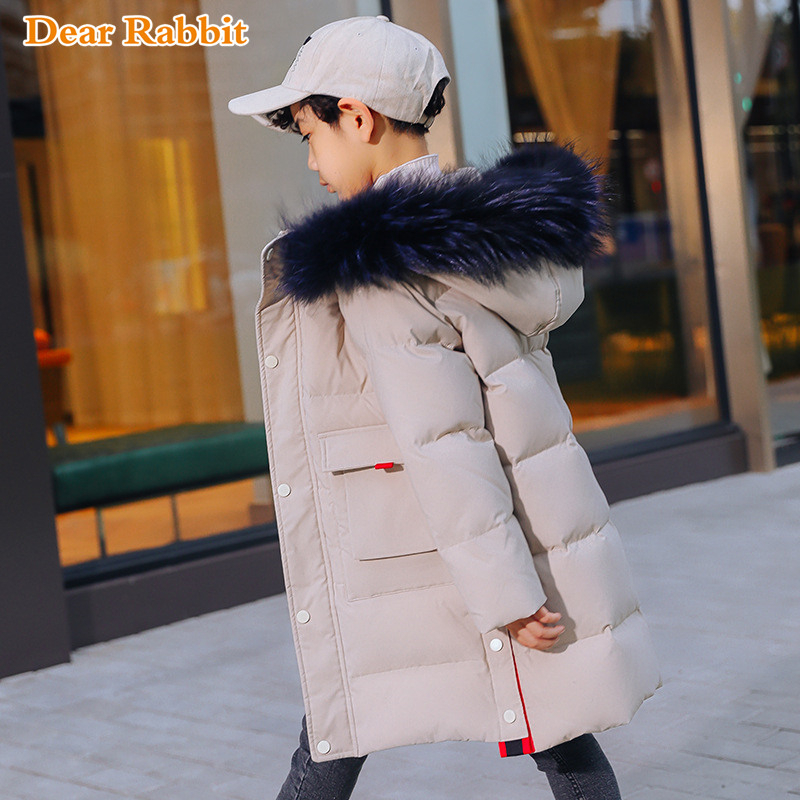 30 Degree Thick Warm Down Jackets Winter Boys Duck Down Coats Children Natural Fur Long Outerwear Kids Hooded Clothes 7 12 year-in Down & Parkas from Mother & Kids