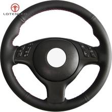 LQTENLEO czarna sztuczna skóra DIY osłona na kierownicę do samochodu dla BMW M Sport E46 330i 330Ci E39 540i 525i 530i M3 M5 2000 2006