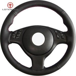 Image 1 - LQTENLEO czarna sztuczna skóra DIY osłona na kierownicę do samochodu dla BMW M Sport E46 330i 330Ci E39 540i 525i 530i M3 M5 2000 2006