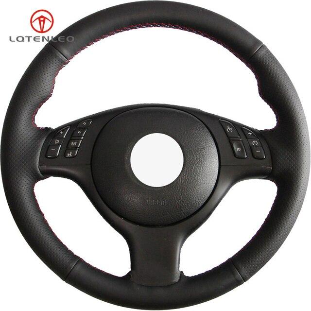 Lqtenleo 黒人工皮革 diy の車のステアリングホイールカバー bmw m スポーツ E46 330i 330Ci E39 540i 525i 530i m3 M5 2000 2006
