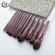 Кисти для макияжа kosmetсоставляют виноград, фиолетовый цвет, блестящая сумка, основа для макияжа, пудры, теней для век, бровей, красота, космет...