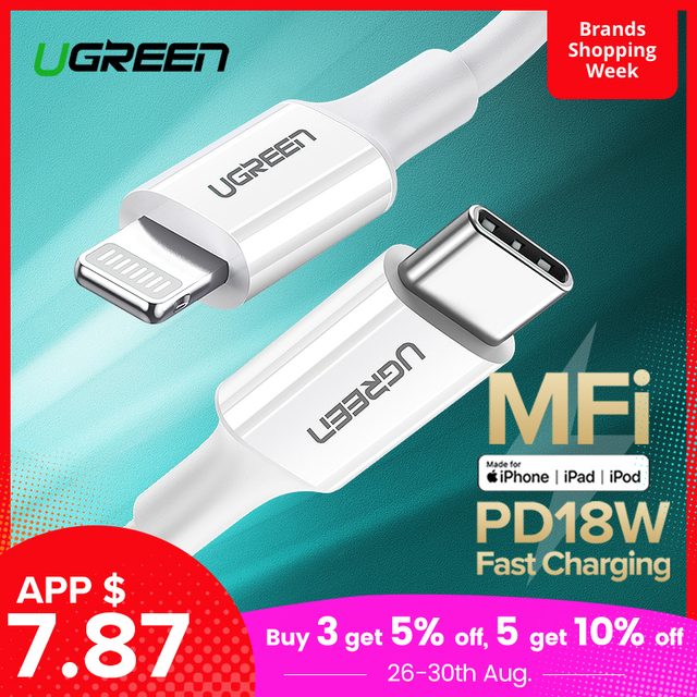 Ugreen USB C Cable to Lightning Cable for iPhone X XS XR 8 18W PD