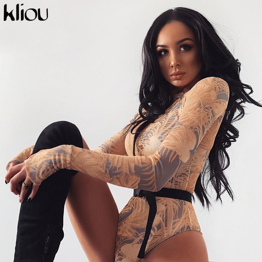 Kliou New Design Women Elastic Print Mesh Bodysuit 2019 Round Collar Long Sleeve Sexy  Bodysuit   Casual Backing-shirt