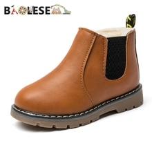 BAOLESEM Kids Snow Boots Child Ankle Children Shoes Warming Fur Lightweight Watertight Anti-skid Winter