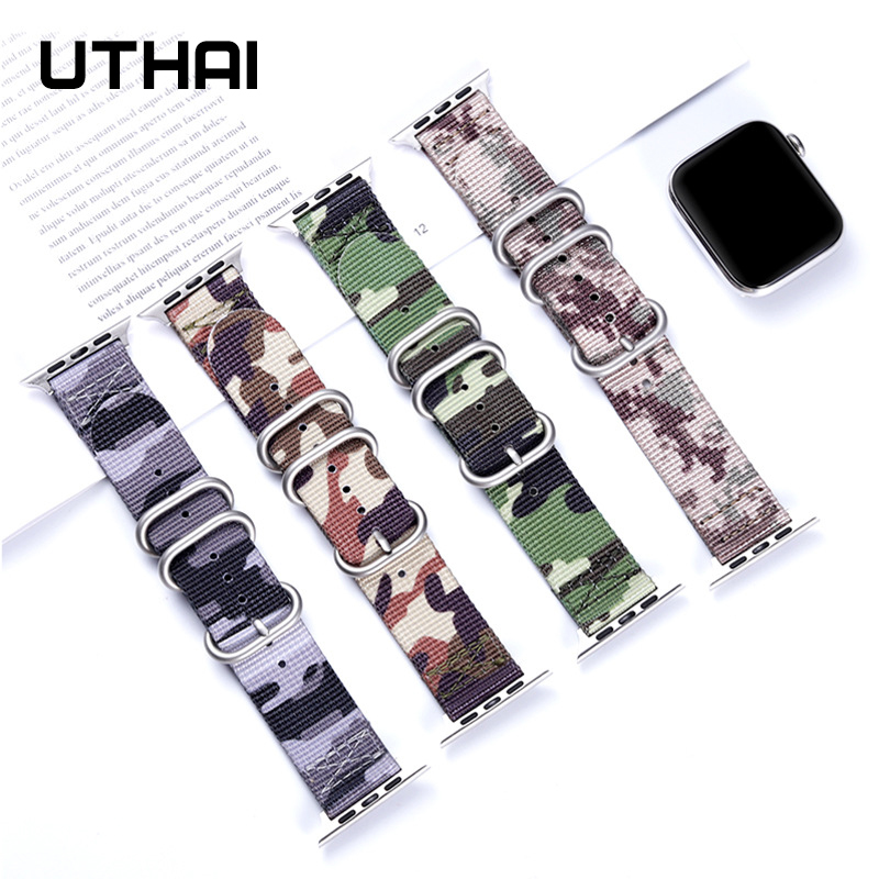 UTHAI P51 Band For Apple Watch Series 3/2/1Nylon Braided Camouflage Strap For Iwatch Series 4/5 40MM 44MM