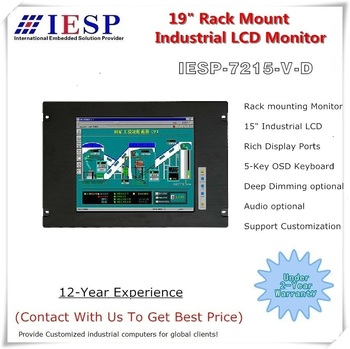 Industrial LCD Monitor, 15-inch LCD, 7RU Rack Mount, VGA & DVI Display Input, Sunlight Readable LCD optional, OEM/ODM
