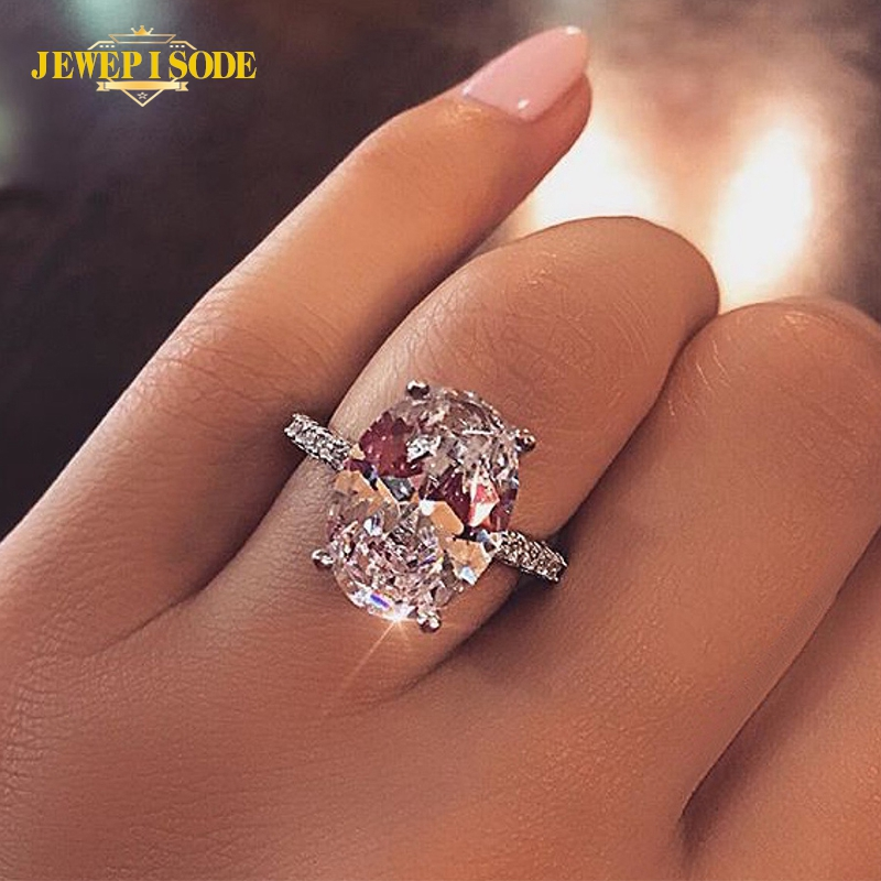 Jewepisode Classic 9ct Radiant Cut Diamond Wedding Engagement Ring Solid 925 Sterling Silver Rings Fine Jewelry Accessorie
