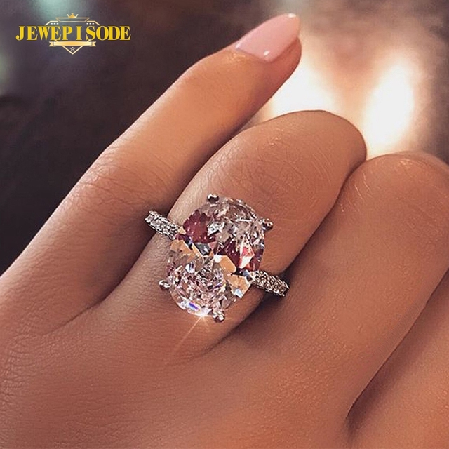 $ US $23.51 Jewepisode Classic 9ct Radiant Cut diamond Wedding Engagement Ring Solid 925 Sterling Silver Rings Fine jewelry Accessorie
