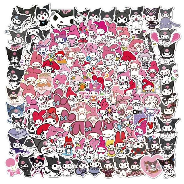 100 pièces japon ma mélodie Kuromi autocollants Anime Graffiti ordinateur portable Skateboard téléphone valise bagages Kawaii fauceurs enfants cadeau décalcomanie