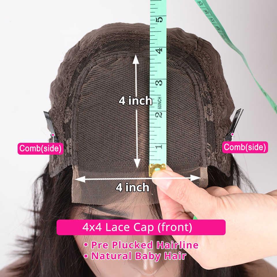 4*4 dantel Kapatma İnsan Saç Peruk Siyah Kadınlar Için 150% Yoğunluk Dantel Peruk Perulu Düz Olmayan Remy saç LUXE DIVA Saç
