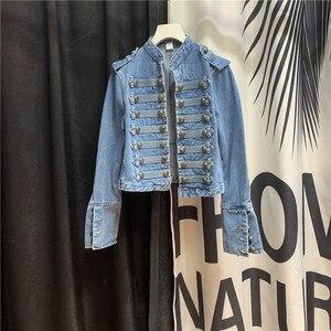 Estilo europeu cropped denim jaqueta para as mulheres outono novo botão legal jeans casaco fino ajuste curto all-match topo jeans casacos