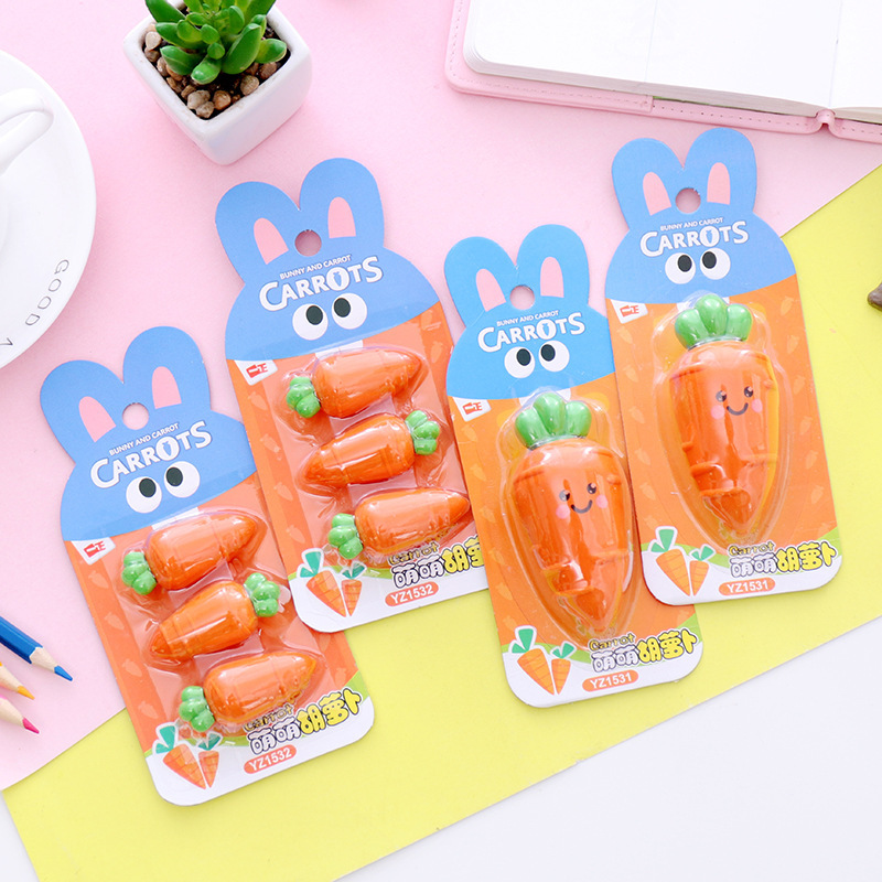 1Pack New Children Baby Shy Carrot Eraser Big Eye Cute Carrot Box Rubber Stationery School Office Supply
