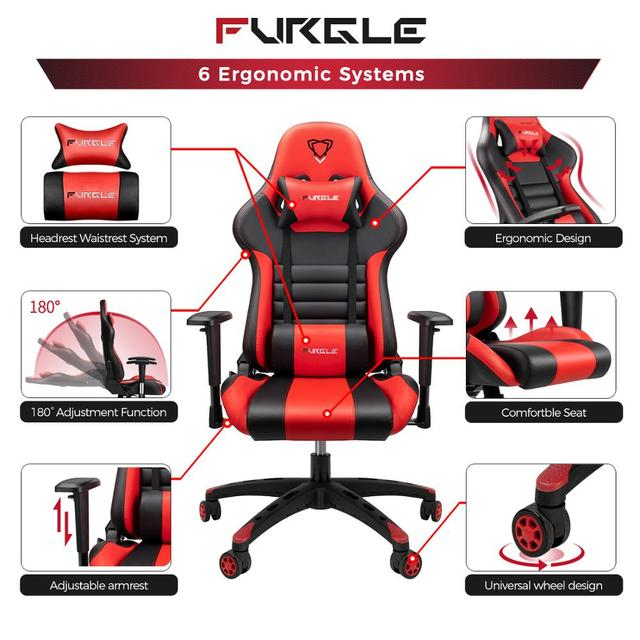 Furgle Gaming Chairs Office Chair Computer Chair with High-back Synthetic Leather Internet Chair Racing Chair for Desk Chair 4