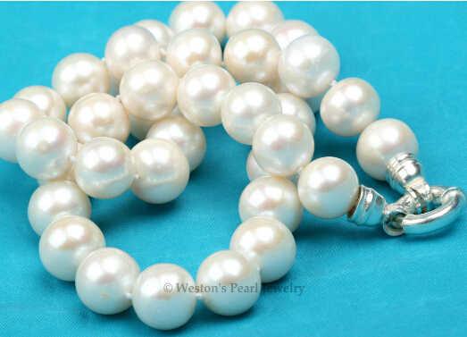 + + + 01944 rzadki duży 11.5-12MM biały naszyjnik z pereł słodkowodnych hodowlanych