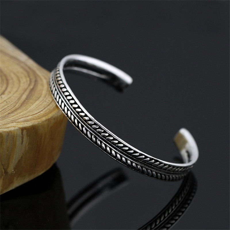 Woozu Hot Selling Silver Color Vintage Leaves Pattern Open Bracelet Bangle For Women Men