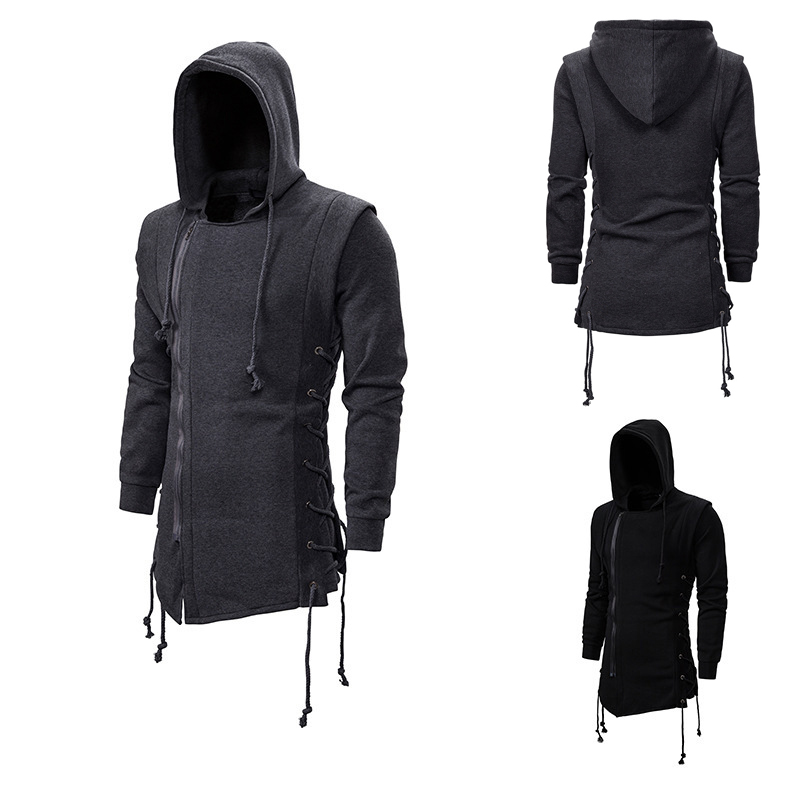 Assassin's Creed Sweater Coat Dark Tie Hooded Loose Hooded Hoodie With Side Tie Crossed Dark Gray Black Hoodies