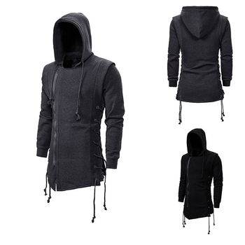 цена на Assassin's creed sweater coat dark tie hooded loose hooded hoodie with side tie crossed dark gray black hoodies