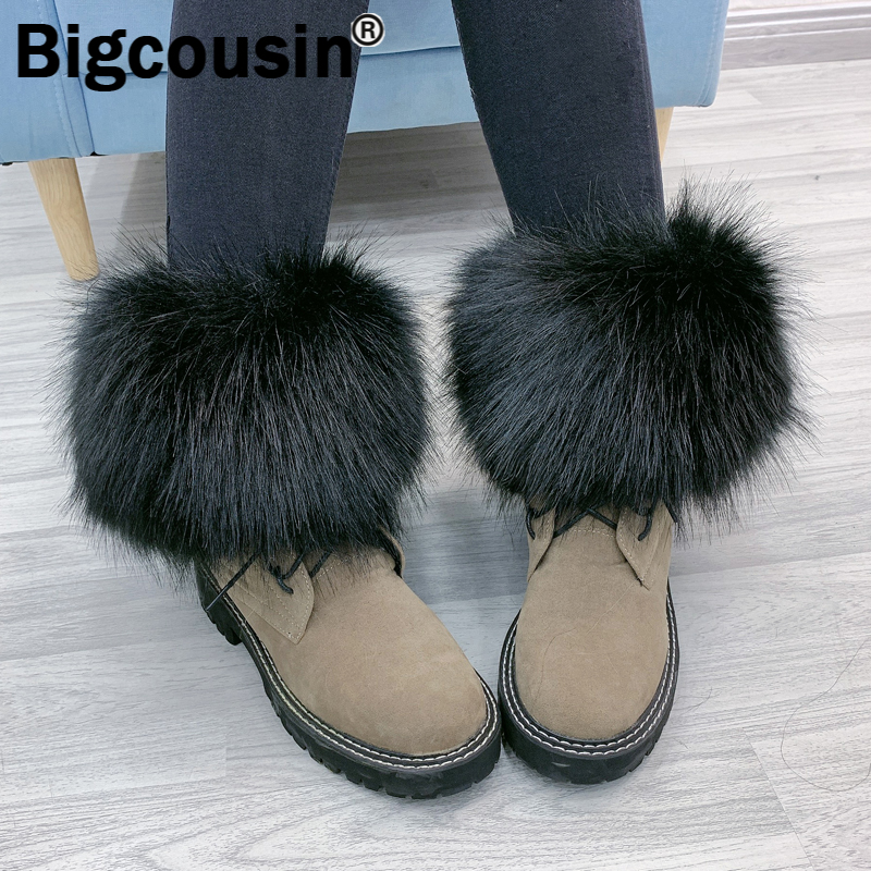 Women Faux Fox Fur Leg Cuffs Ankle Boots Feet Cover Elastic Socks Cover Shoes Cover Foot Ring Female Flury Fur Leg Decoration