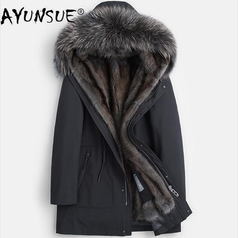 AYUNSUE Winter Real Fur Coat Men Parka Natural Mink Fur Liner Jacket Raccoon Fur Collar Mens Mink Jackets Parkas 2019 KJ3498