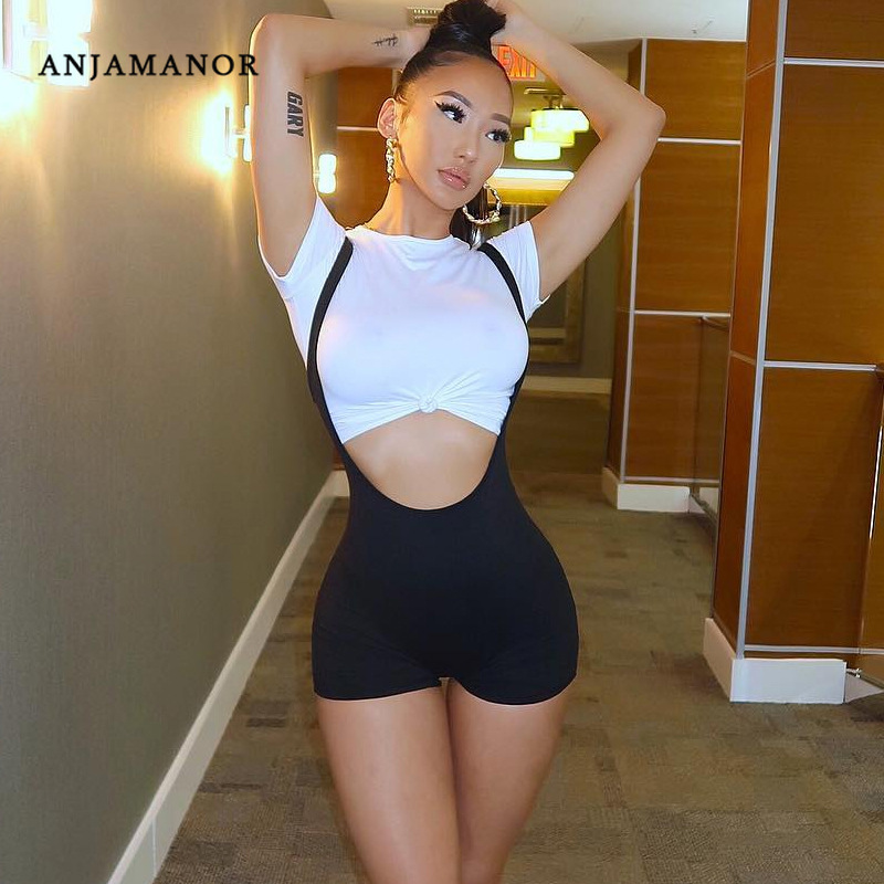 ANJAMANOR Black High Waisted   Shorts   Casual Overalls Summer Stretchy Spandex Romper Workout Activewear Sexy   Short   Pants D66-H64