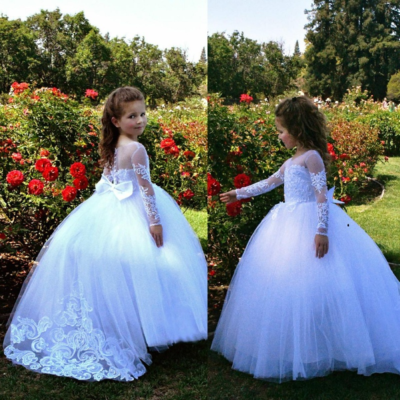Flower Girls Dresses Beautiful Holy Communion Dresses  Lace Long Sleeve Beaded Puffy Ball Gown Prom Pageant Dress For Girls