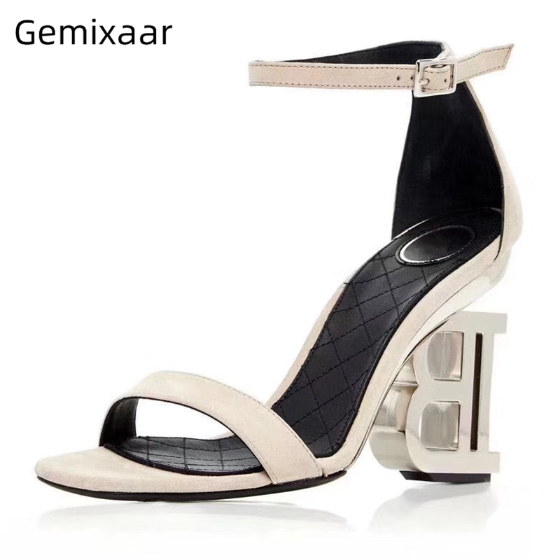 White Genuine Leather Women Sandals One Strap Narrow Buckle Sandalias Comfy Insole Strange Letter High Heel Woman Sandals 35-43