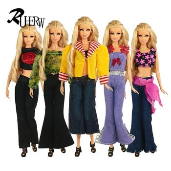 Envío Gratis 5 conjuntos = 5 prendas + 5 pantalones chaqueta traje pantalones prendas de vestir traje conjunto de abrigo para Vestido de muñeca barbie ropa conjunto de regalo
