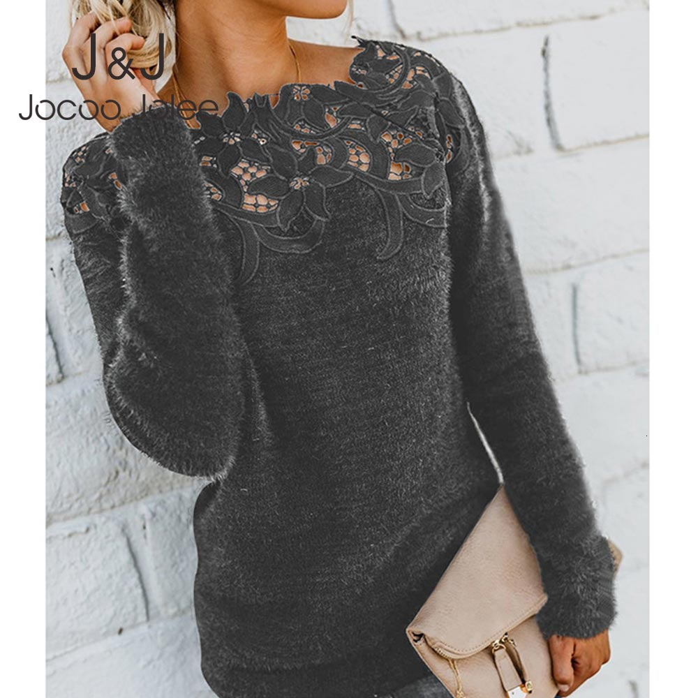 Jocoo Jolee Women Sexy Lace Slash Neck Fleece Patchwork Sweater Elegant Plush Pullover Causal Warm Jumpers Plus Size 5XL Tops