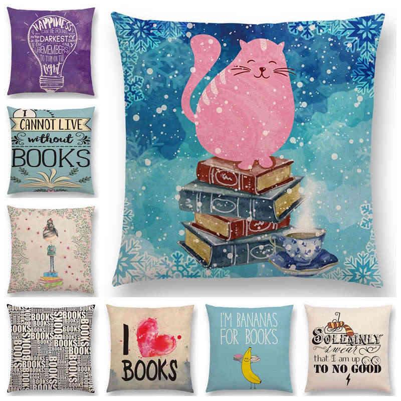 Czas na czytanie książek poszewka na poduszkę kanapową ozdobne litery poszewka na poduszkę