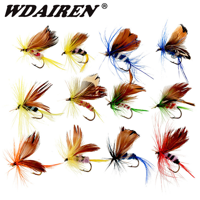 12pcs Assorted Fly Fishing Hooks Flies Trout Dry Lures Bait Butterfly Tackle