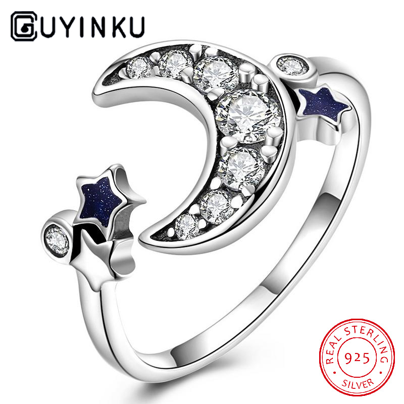 Romantic Moon Sun Shape Rings 925 Sterling Silver For Women Wedding Gift Fine Jewelry Adjustable Gemstone Ring