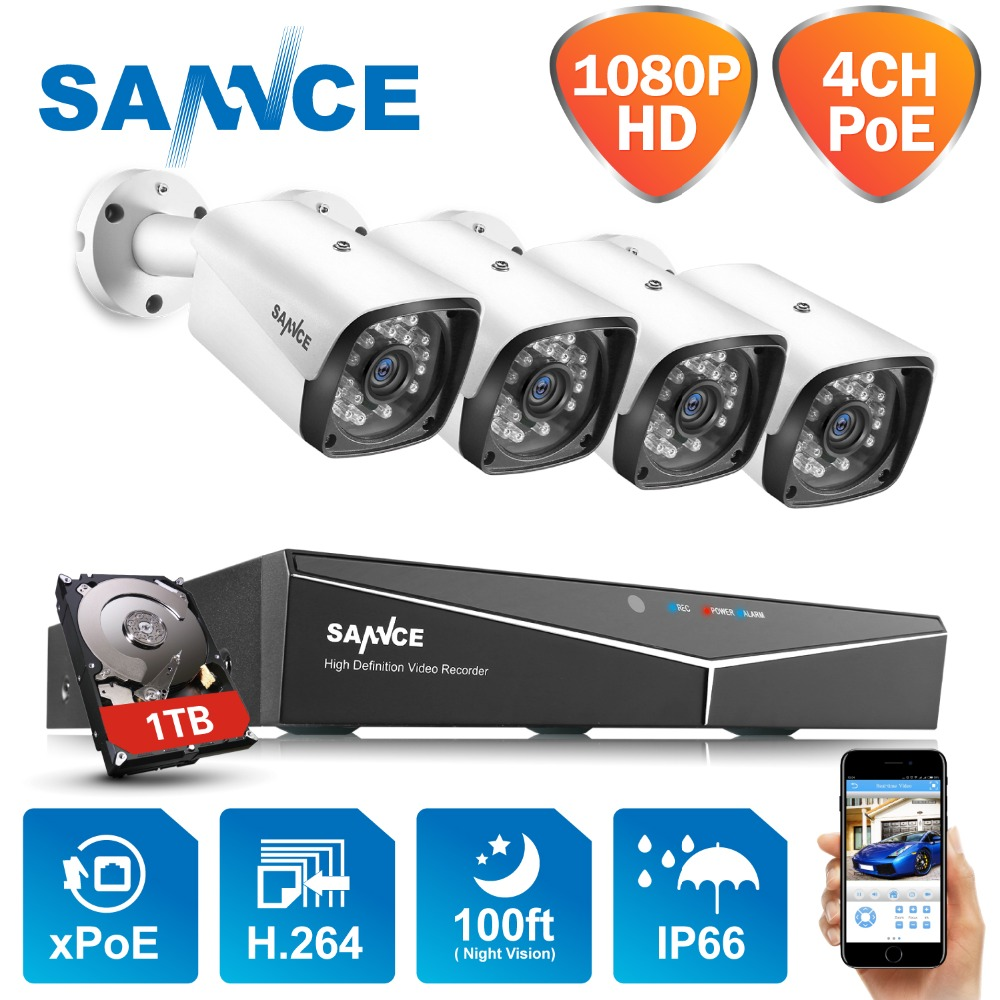 SANNCE 4CH 1080P HDMI <font><b>POE</b></font> NVR Kit CCTV Security System 2MP IR IP66 Waterproof <font><b>Outdoor</b></font> <font><b>IP</b></font> <font><b>Camera</b></font> Plug&paly Video Surveillance <font><b>Set</b></font> image