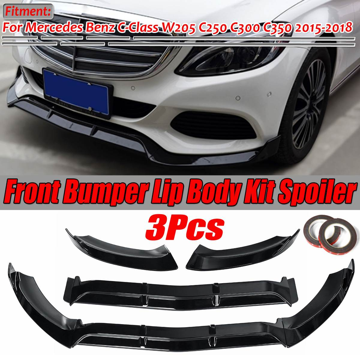 3Piece Car Front <font><b>Bumper</b></font> Splitter Lip Diffuser Guard Body Kit Spoiler For Mercedes For <font><b>Benz</b></font> C-Class <font><b>W205</b></font> C250 C300 C350 2015-2018 image
