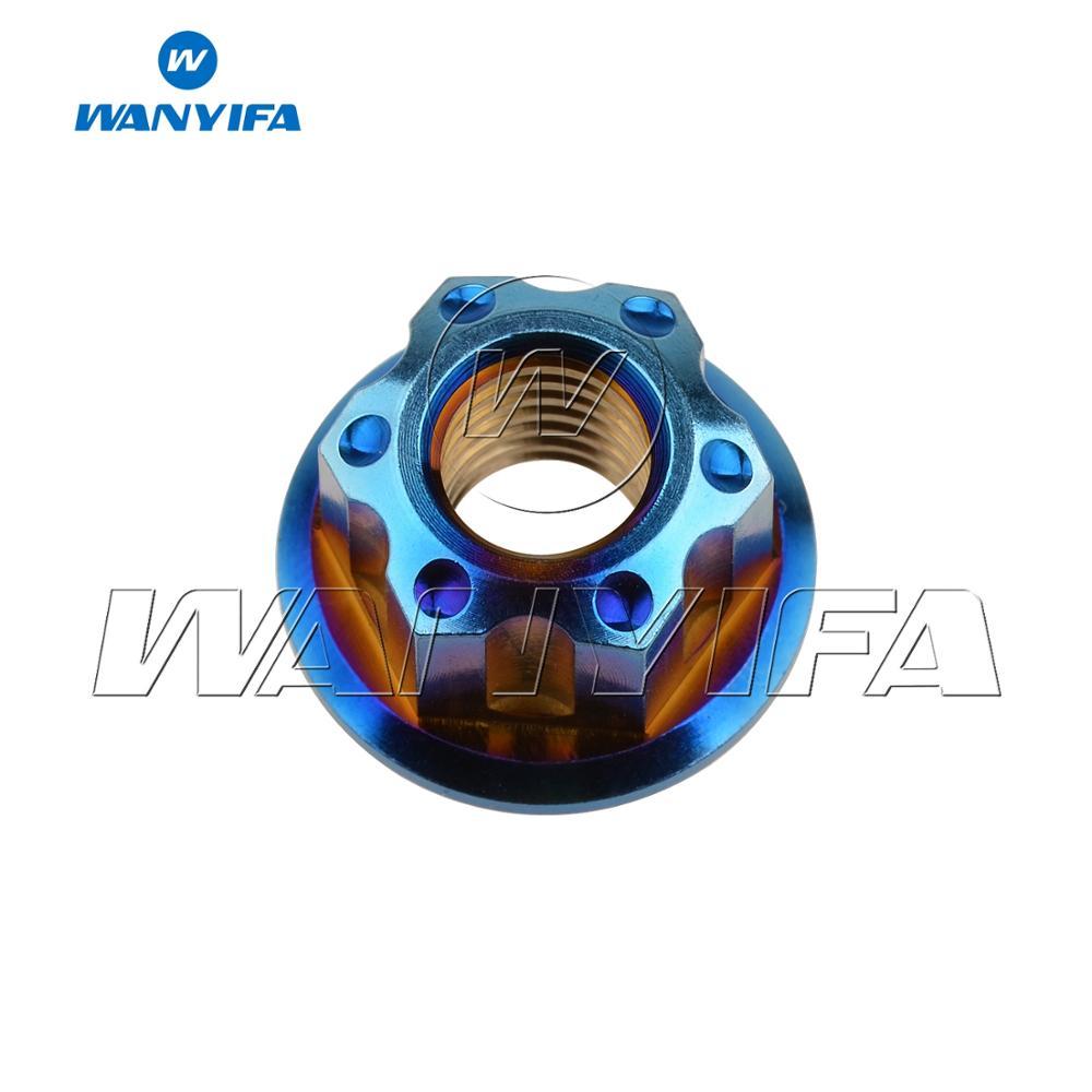 """Титановый """"Wanyifa"""" гайки Ti M6 M8 M12 гайка фланца болты для велосипеда аксессуары велосипед стоп-сигнал - Цвет: M8 blue"""
