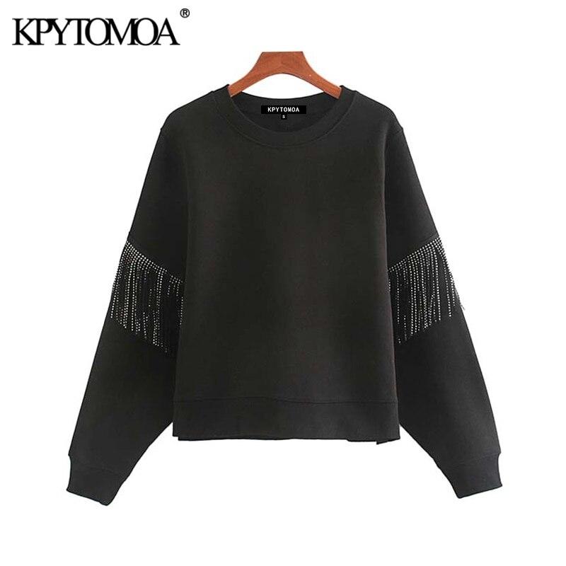 Vintage Stilvolle Quaste Patchwork Lose Sweatshirts Frauen 2020 Mode O Hals Langarm Weibliche Pullover Chic Tops