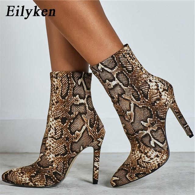 Eilyken 2020 New Leopard grain Serpentine Boots Women High Heel Boot Pointed Toe Sexy Zip Shoes Fem