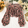 Elegant Sweet ruffle Women Shirt Lantern sleeve Floral print Chiffon Shirts and Blouses 2020 Spring Slim Female blouses Tops 4