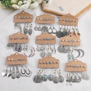 Bohemia Bride Earrings Set Vintage Ethnic Long Round Leaf Tassel Wedding Water Drop for Women Girls Statement Jewelry