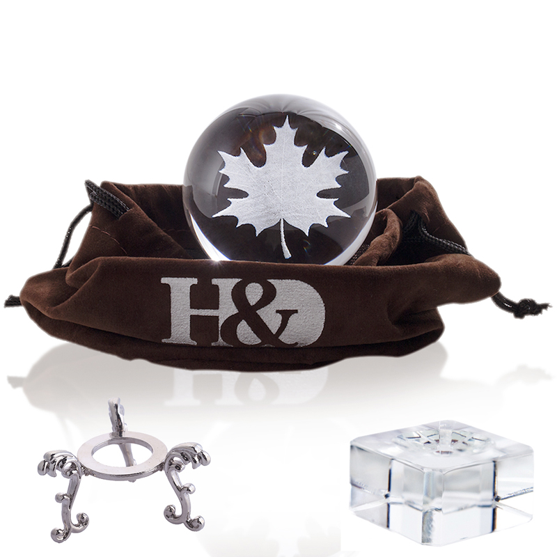 H&D 60mm Inner Carving 3D Crystal Ball Paperweight With 2pcs Stand Art Glass Figurine Fengshui Home Desktop Decor (Maple Leaf)