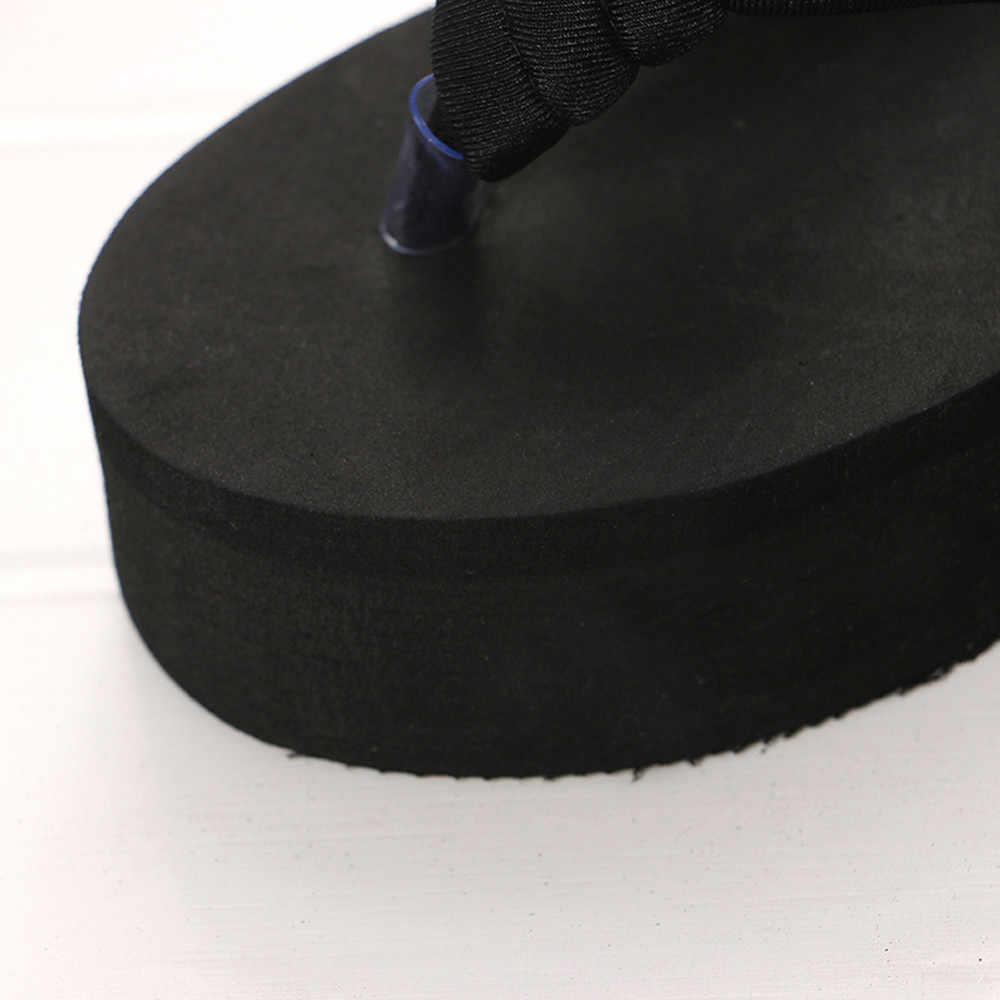 Plaj Flip flop terlik kadın kama platformu plaj ayakkabısı Sandal Anti kayma kalın Slipsole Flip flop plaj ayakkabısı kadın terlik