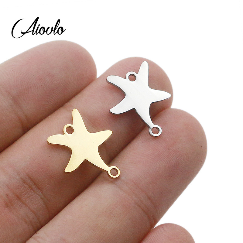 5pcs/lot Ocean Beach Starfish Stainless Steel Connector Bracelet DIY Jewelry Findings Component Metal Earring Making Accessories