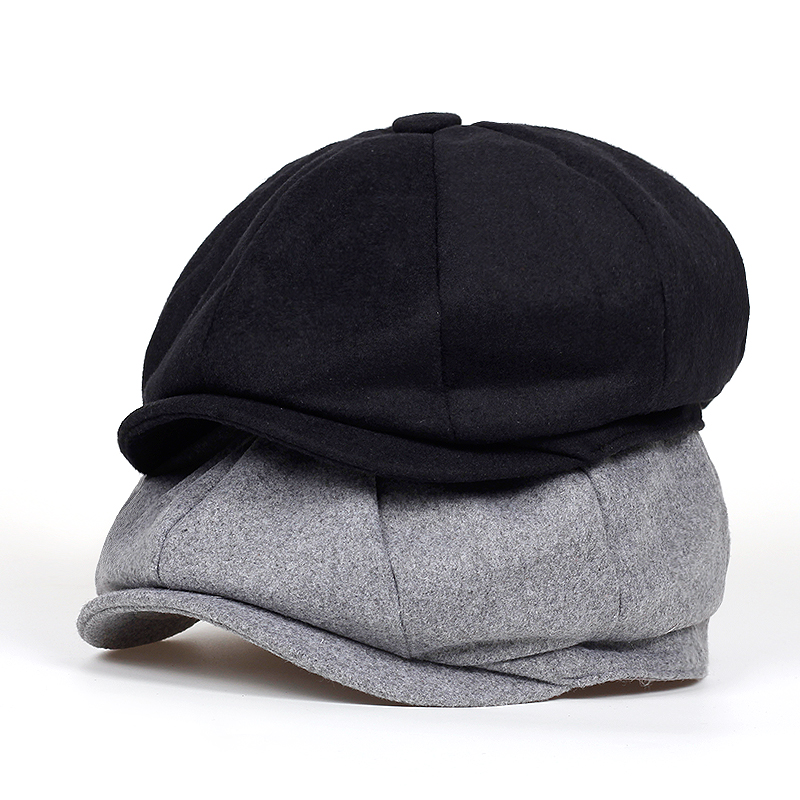 2019 New Beret Men Women Wool Tweed Hats Newsboy Caps Gatsby Octagonal Cap Wool Vintage British Hat