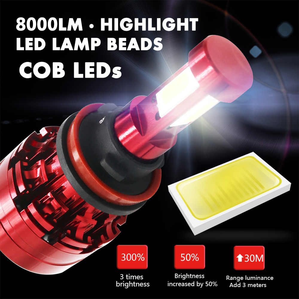 New Arrival H7 Led Canbus No Error H4 Car LED Headlight Bulbs H11 LED H8 H13 HB4 9006 Lamp 6500K 16000LM Auto Led Fog Light