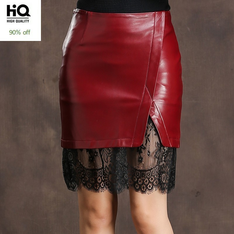 Spring Autumn Women Sexy Wrap Skirt Sheepskin Genuine Leather Skirts Elegant Office Ladies Elegant Lace Spliced A Line Skirt 3XL