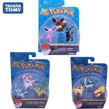 Genuíno 3 pçs pokemon figura de ação eevee vaporeon jolteon espeon umbreon leafeon glaceon bolso monstro presente