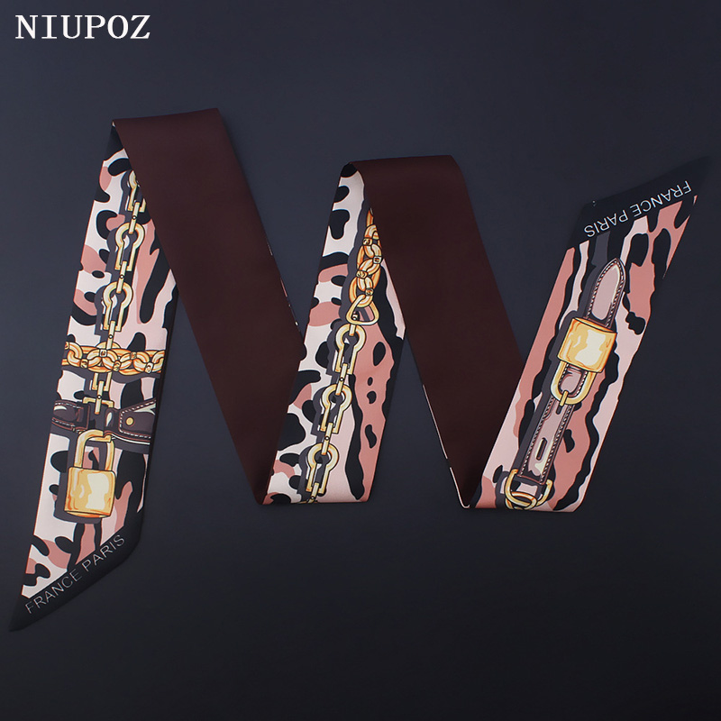 Luxury Brand Women Leopard Chain Print Small Bag Scarf Twill Emulation Silk Head Scarf Hair Handle Tie Hand Ribbon Shawl